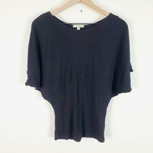 Bordeaux Black Dolman Short Sleeve Top